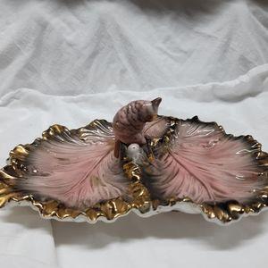 Vintage cockatoo pink plate